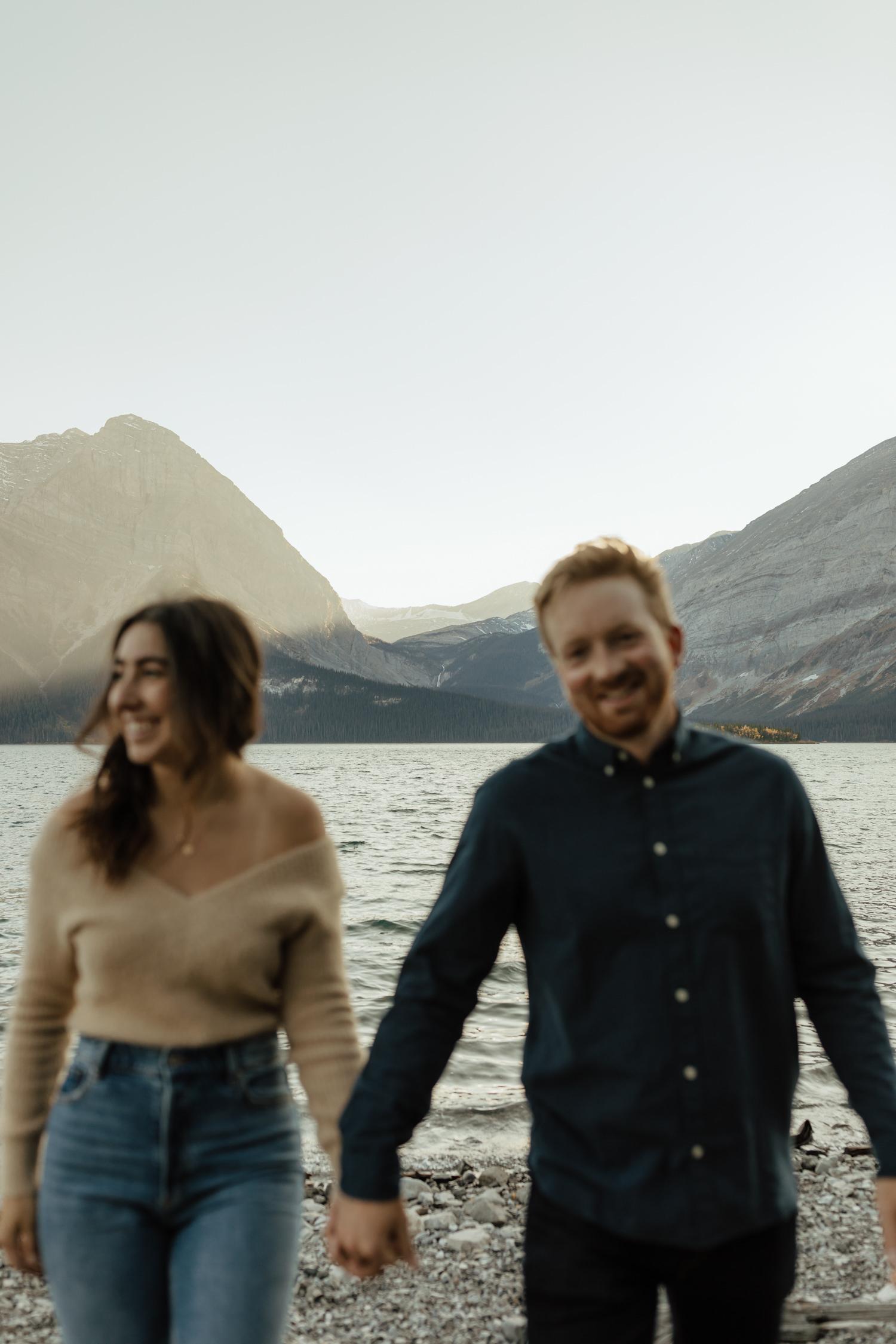 Fall Couple Session at Upper Kananaskis Lake in Alberta, Canada