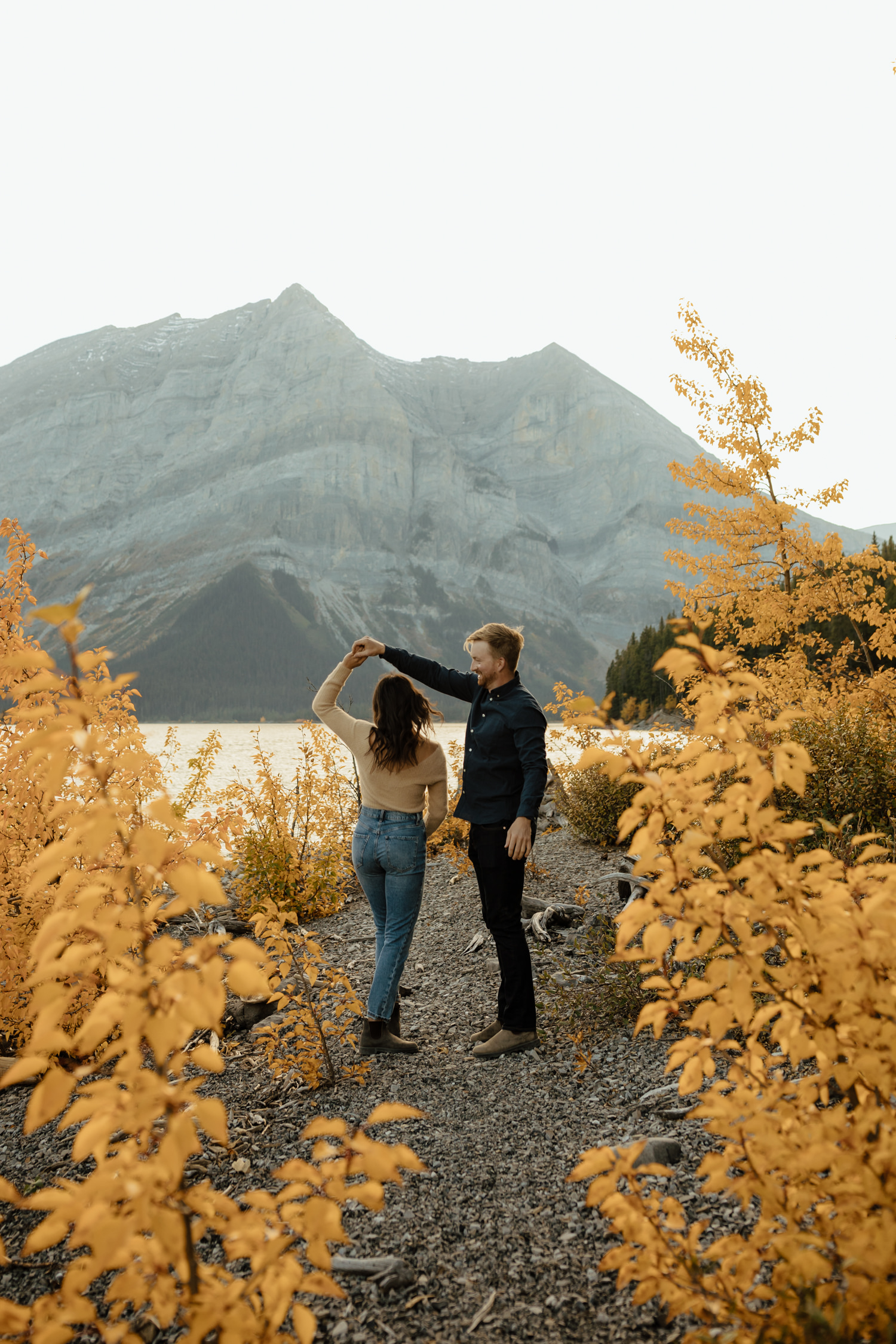 Fall Couple Session at Upper Kananaskis Lake in Alberta, Canada