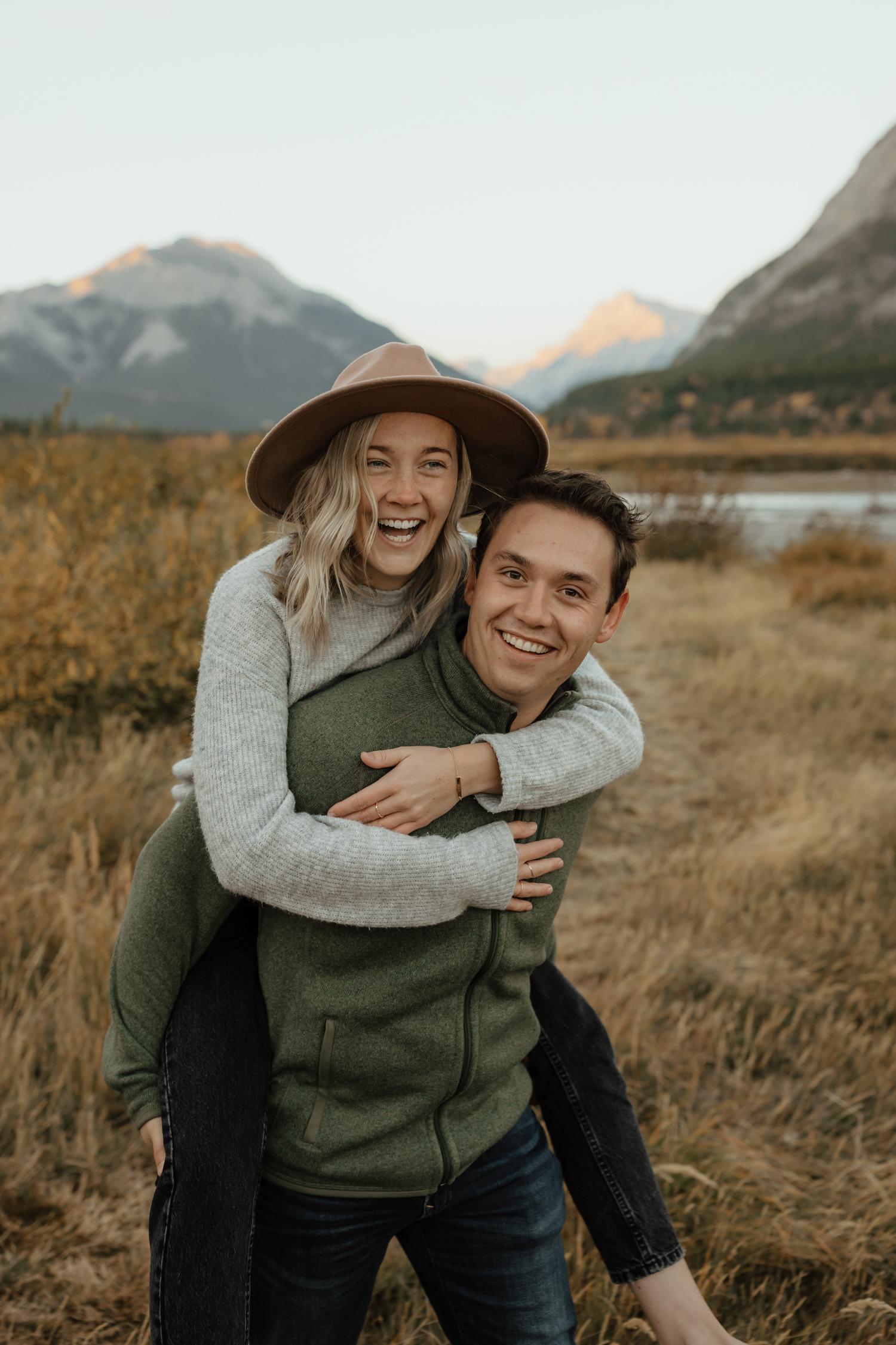 Fall Couple Session near Barrier Lake in Kananaskis, Alberta