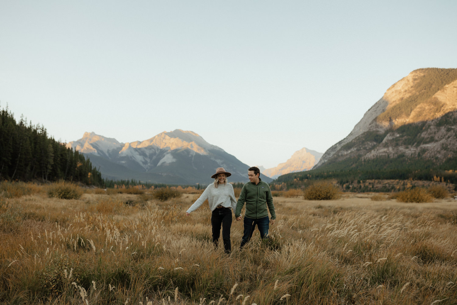 Fall Couple Session near Barrier Lake in Kananaskis, Alberta