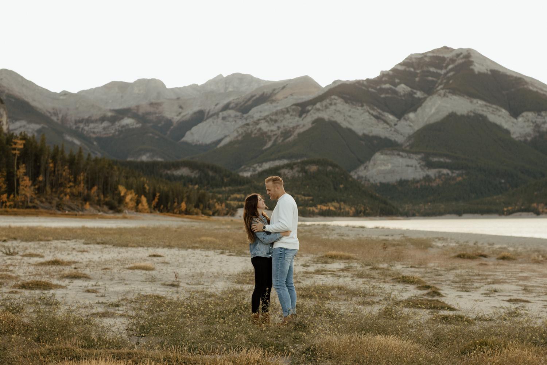 Fall Engagement Photos at Barrier Lake in Kananaskis