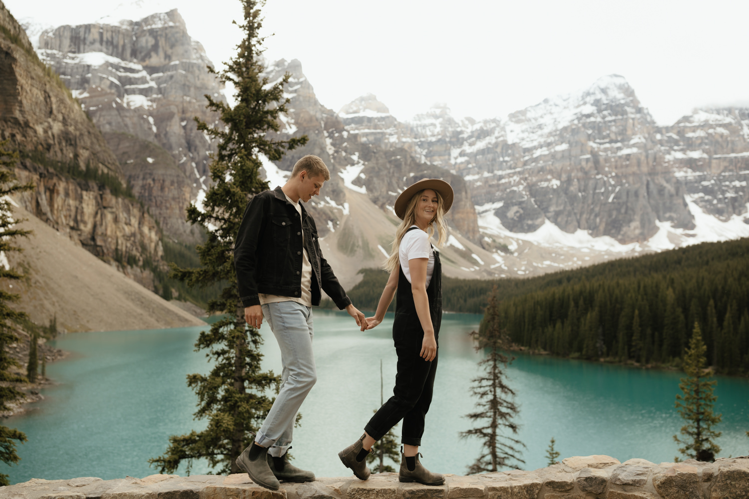 Summer Sunset Couple Session at Moraine Lake and Lake Louise